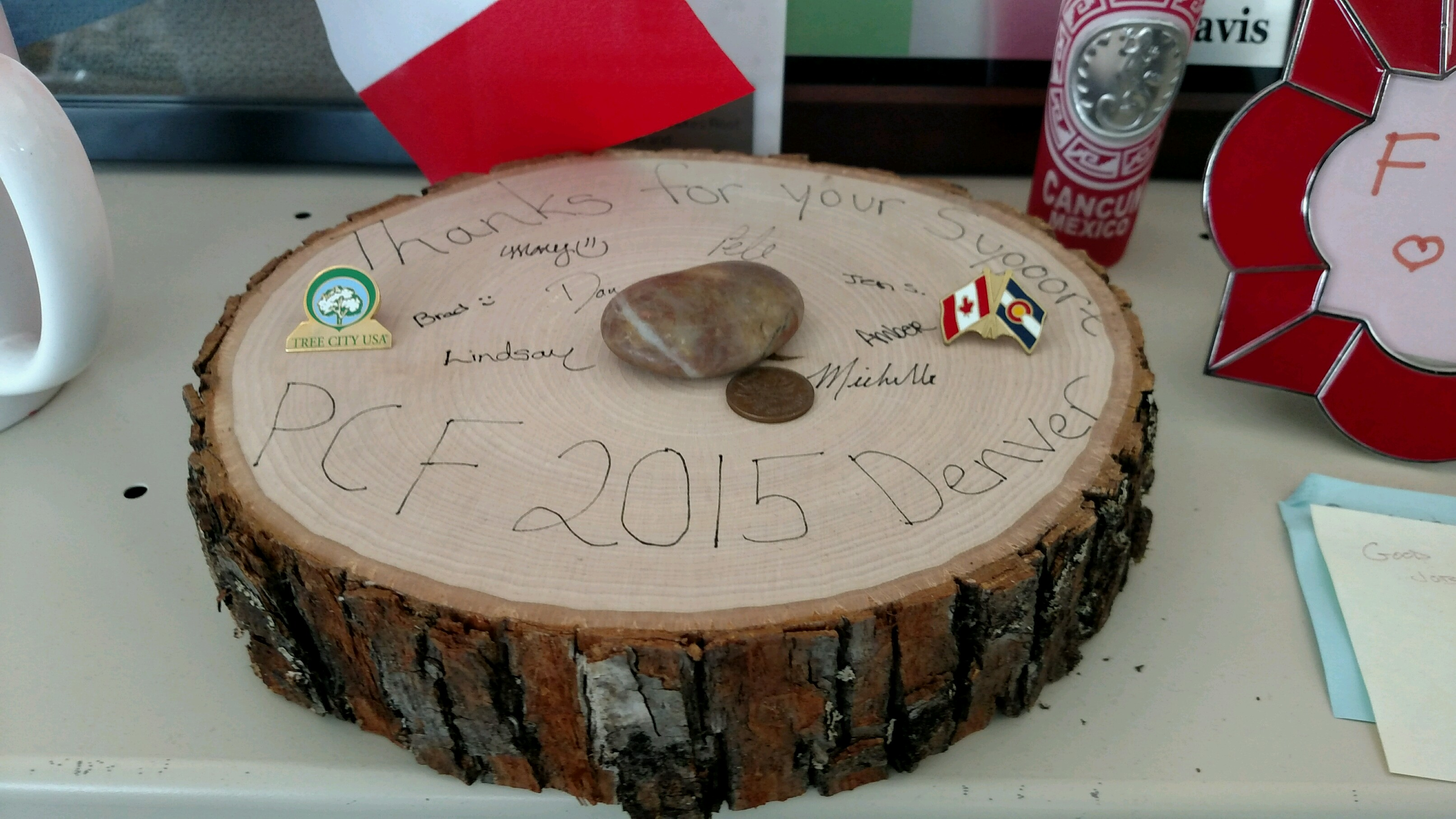 This Thank You Note Was Sent To The Denver Office Of The City Forester For Hosting The 2015 Partners In Community Forestry Conference, And Was Made From Transported Wood.
